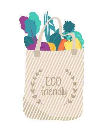 Biege eco bag with organic food. Reusable.
