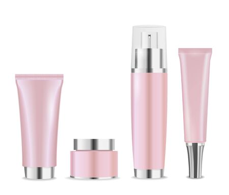 Set of pink luxury cosmetic packages with silver caps for cream, lotion or moisturizer. Vector