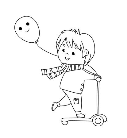Cute boy riding kick scooter with ballon. Outdoor sport and leisure activities. Coloring book for children. Vector