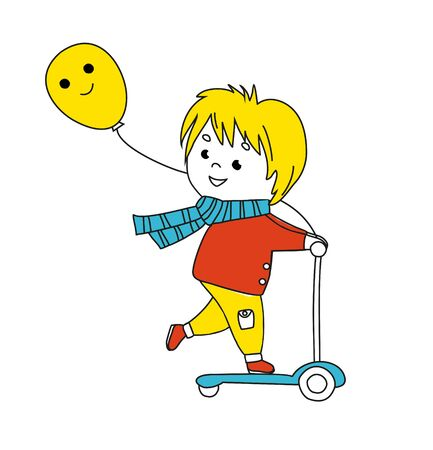 Smiling little boy on kick scooter. Funny colorful Illustration. Vector