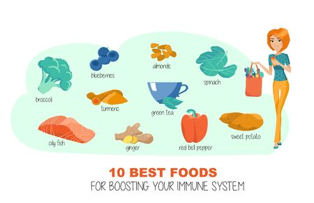 Ten best products for immune health. Vector Ilustracja