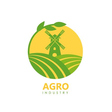 Circle logo of green fields and mill for agro company or vegan food. Vector Illusztráció