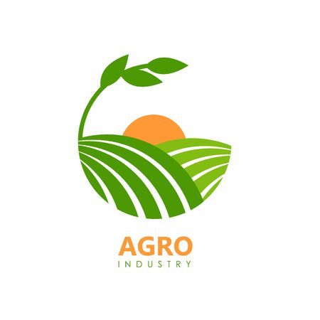 Agro logo for vegan food or company. Green fields and orange sun. Vector