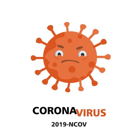 coronavirus illustration. Angry covid in center. 2019-ncov text. Vector