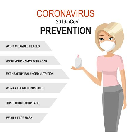 coronavirus prevention tips. Woman in mask with soap or