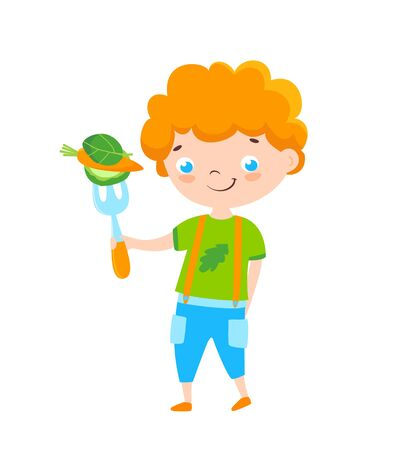 Cute smiling boy with fork and vegetables on it. Healthy nutrition for kids. Cartoon style. Illustration Ilustracja