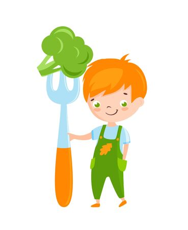 Cute little boy holding big fork with broccoli. Vector