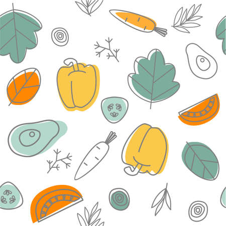 Seamless vegetables background. Doodle pattern. Healthy food. Vector