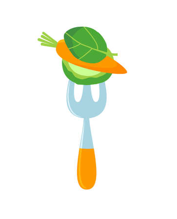 Cartoon fork with vegetables on it. Raw food logo. Vector Stock Illustratie