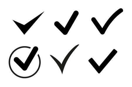 Set of black check mark icons. Vector