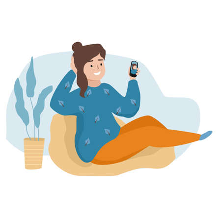 Selfie girl holding smartphone. Vector illustration
