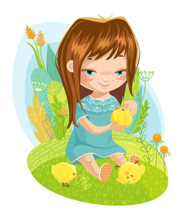 Happy little girl with small baby chicken. Stock Illustratie