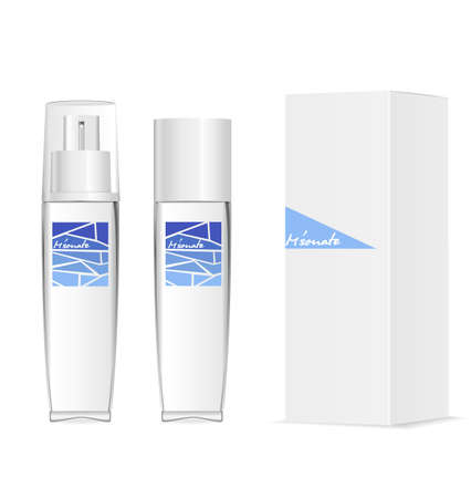 Glass or acylic bottles for parfum, moisturizer etc. Stock Illustratie