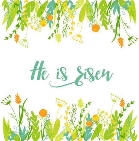 Easter christian card with flowers and text.