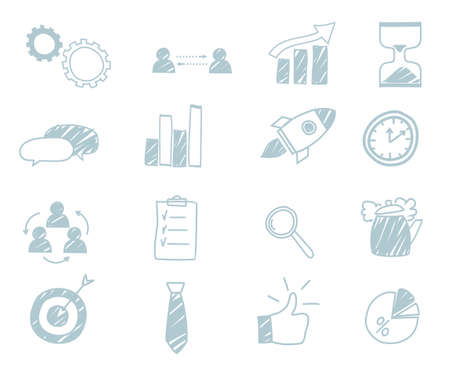 Light blue business icons. Pretty beautiful style Stock Illustratie
