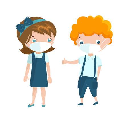Two preschool kids wearing face mask.