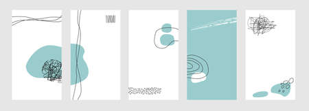 Set of abstract backgrounds for social networks stories. Vector Vettoriali