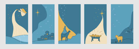 Set of christmas cards for social networks stories. Vector Vettoriali