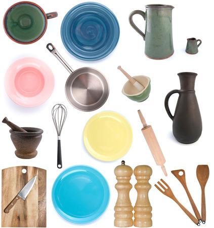 utensilios de cocina: Utensilios de cocina. Establecer ?1. Fotografía de estudio sobre un fondo blanco. Aislado.