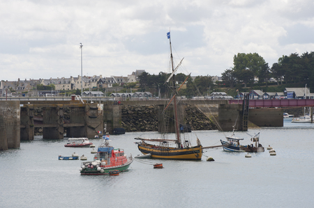 st malo: FRANCE, SAINT-MALO - JULY 28, 2014: View of the port and fishing boats.
