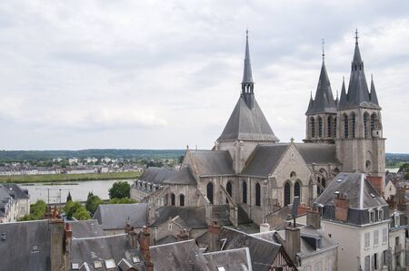 st nicholas cathedral: FRANCE, BLOIS - JULY 26, 2014: View of the Cathedral of St. Nicholas. Shooting from a high point. Editorial