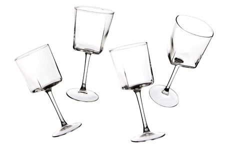 stemware: Silhouettes of stemware glass on a white background. Studio photography on a white background.