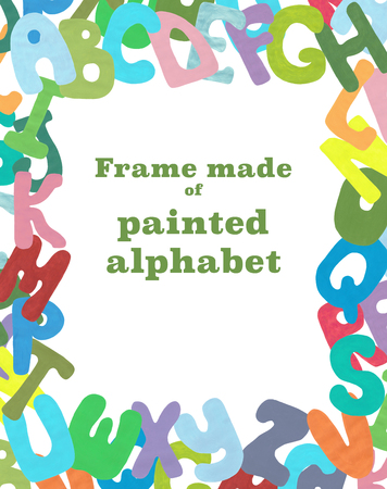 place to learn: Frame made of painted letters. Letters painted with acrylic paint isolated on white background. Photo.