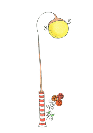 lamp post: Lamp post. Illustration. Drawing hand on a white background.