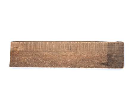 not painted: Old wooden board on a white background. Studio photography. The board did not painted. Stock Photo