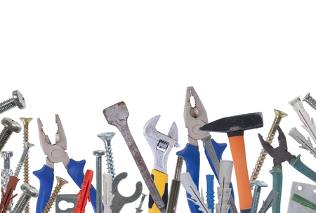 old tools: Collage of various construction tools. Studio photography on a white background. Isolated.