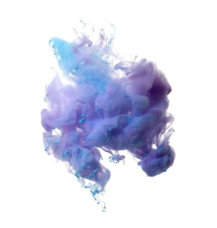 Abstract of blue and brown acrylic paint in water.Studio photography on a white background.