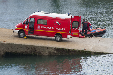 diving equipment: FRANCE, SAINT-MALO - JULY 28, 2014: A car for diving equipment.
