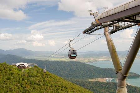 langkawi island: MALAYSIA, LANGKAWI - JANUARY 24, 2010: Ski lift in the mountains of Langkawi Island.