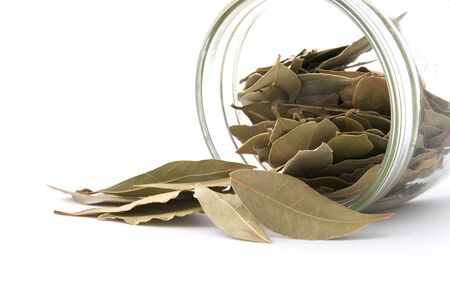 Bay leaf poured out of the jar. Studio photography on a white background.