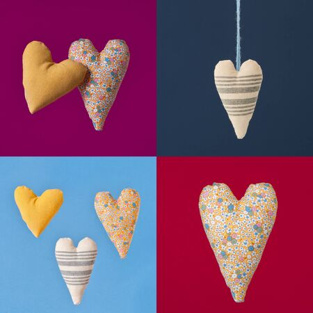 full suspended: Collage of four colorful squares with fabric hearts. Studio photography on a blue background. Stock Photo