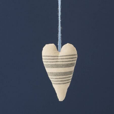 full suspended: Hanging heart tissue on a blue background.Studio photography on a blue background. Stock Photo