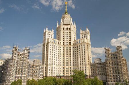 kotelnicheskaya embankment: RUSSIA, MOSCOW - MAY 11, 2016: Skyscraper on Kotelnicheskaya embankment. Architects and Chechulina Rostkowska.
