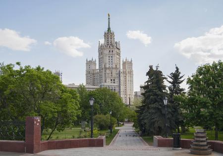 kotelnicheskaya embankment: RUSSIA, MOSCOW - MAY 11, 2016: Square and skyscraper on Kotelnicheskaya embankment. Editorial