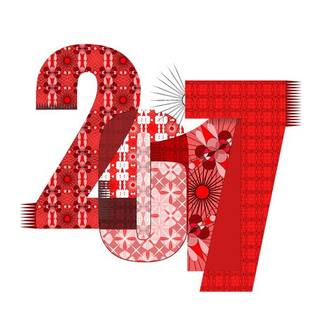 0 1 year: The numbers 2017 with designer ornaments. Symbol of the New Year.