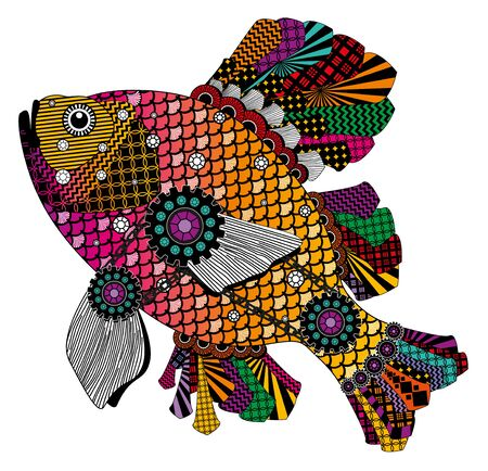 Colorful stylized fish in red, pink and orange tones. Bitmap in cheap popular style.