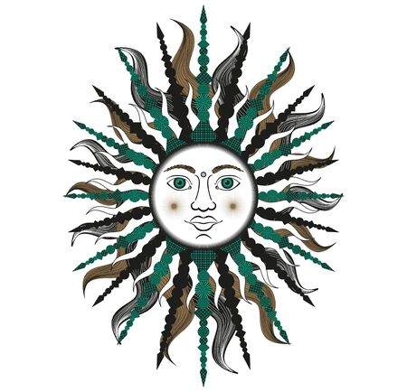 indium: Colorful stylized sun in green and black colors. Bitmap in cheap popular style.  Stock Photo