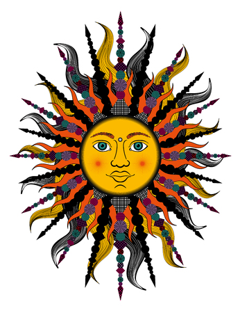 indium: Colorful stylized sun. Bitmap in cheap popular style.