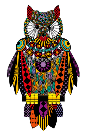 Colorful owl. Raster drawing on a white background. Stock Photo