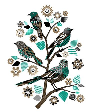 Birds on a tree in black and green colors. Bitmap in cheap popular style.  Stock Photo