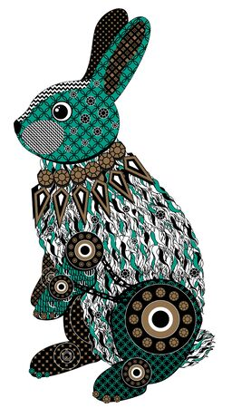 Colorful stylized rabbit in black, green and brown tones. Bitmap in cheap popular style.