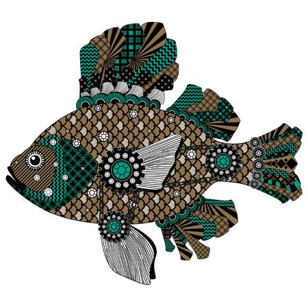 Colorful stylized fish in black, green and brown tones. Bitmap in cheap popular style.