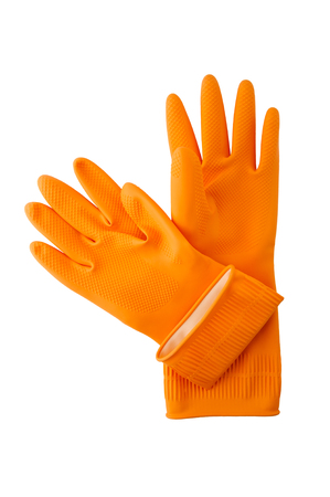 Household rubber gloves on a white background. Professional studio photography. Stock Photo