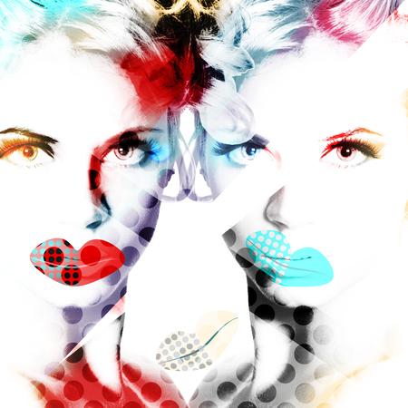 현대 디자인 포스터 아름 다운 여자의 초상화.