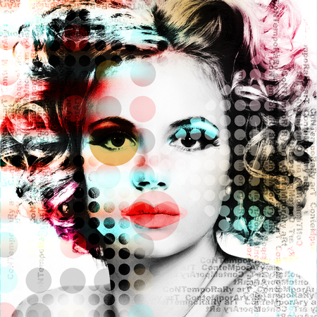 The poster with a portrait of a beautiful girl in the style of contemporary art.  Imagens