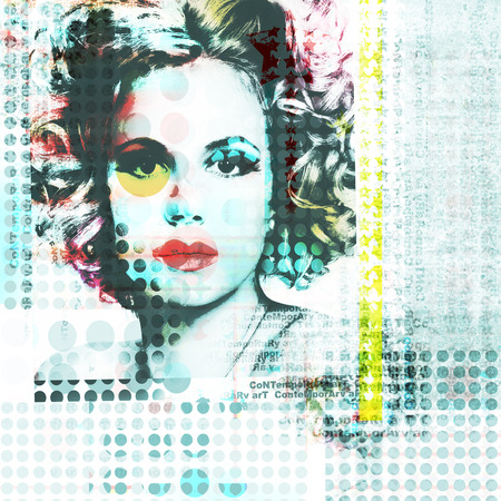seventies: Abstract background with elements of photography beautiful girl in pop-art style.